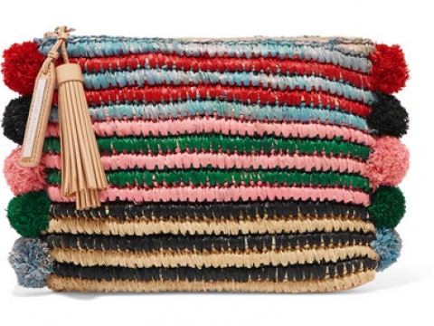 Pompom-embellished leather-trimmed straw clutch HK$1,575 (LOEFFLER RANDALL)