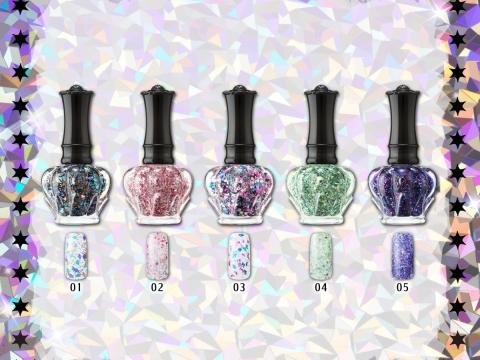 萬花筒系列華麗水晶美甲油加入形狀、大小不一的閃粉,其5色。各HK$135/8ml