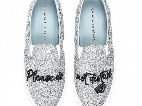 "Silver glitter ""please do not disturb"" slip-ons HK$1,980 (Chiara Ferragni Collection)"