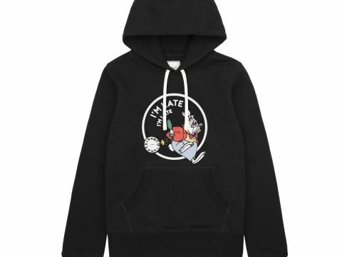黑色「白兔先生」時尚連帽衛衣HK$399