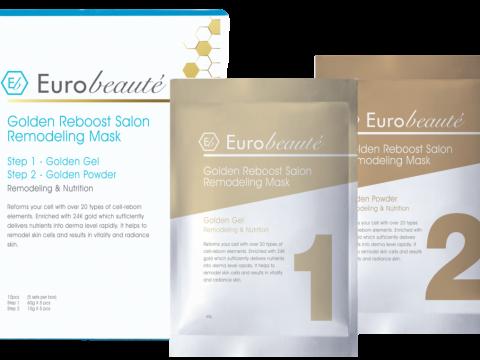 Eurobeauté Golden Reboost Salon Remodeling Mask炫金水療再生面膜,揉合24K黃金注養啫喱及活性黃金精華粉末,為肌膚補水、維他命、胺基酸及膠原蛋白,急救倦肌。 HK$780/5套