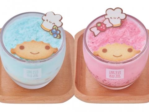 Kiki藍莓豆腐花、Lala草莓西米露 (各HK$48) 自家調製粉藍色雲呢嗱沙冰及粉紅色草莓沙冰,底層是豆腐花或西米露混合水果,面層是Kiki、Lala造型曲奇及可愛廚師帽。