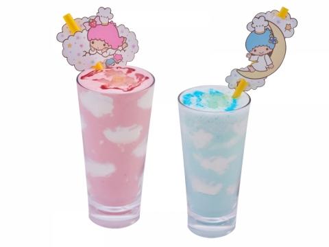 Kiki粉藍雲朵沙冰、Lala粉紅雲朵沙冰 (各HK$48) 分別是加上粉藍色的雲呢嗱沙冰及草莓沙冰,中間飄浮著朵朵白雲。
