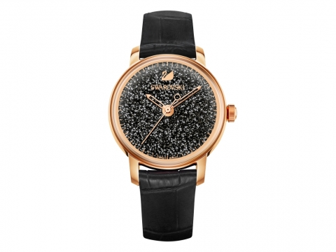 Swarovski CRYSTALLINE HOURS 黑色真皮手錶 HK$ 3,650