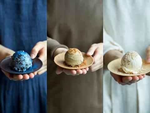 藍染雪糕(蝶豆花口味)、皮革雪糕(玄米茶口味)、棉絮雪糕(消化餅口味)