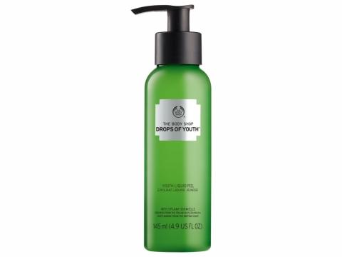 The Body Shop Drops of Youth Youth Liquid Peel 以植物幹細胞活肌成分潔淨老化角質層,啫喱狀質感清爽舒服。HK$179/145ml