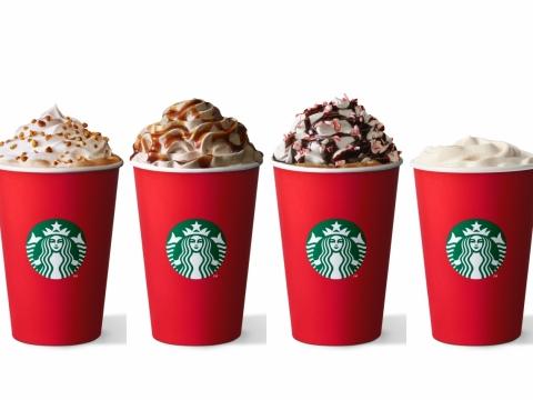 拖肥果仁脆趣鮮奶咖啡、薑汁鮮奶咖啡、聖誕薄荷朱古力咖啡、Teavana蘋果肉桂樂悅茶。