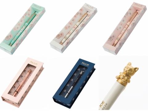 經典菊花圖案原子筆 各HK$240、立體貓咪造型原子筆 各HK$280