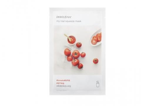 Innisfree My Real Squeeze Mask–Tomato含活化成分紅番茄,以冷萃壓榨方式於低溫下萃取而成,有助明亮疲憊肌膚。HK$9/片