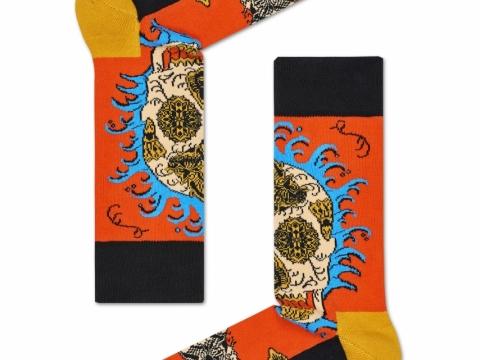 橙色底頭骨圖案襪子 HK$110