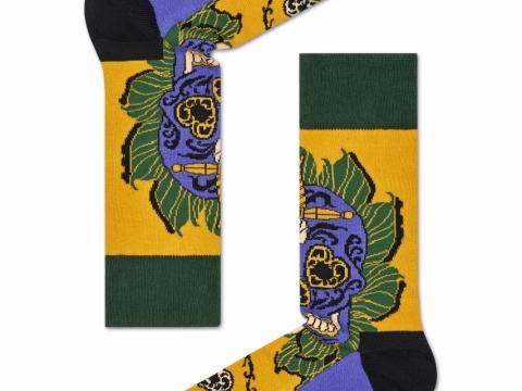 黃配藍色頭骨圖案襪子HK$110