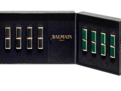 L'Oréal Paris X Balmain Paris 12色限量版唇膏以Balmain經典皮紋外盒設計,配上Balmain禮服最經典的鈕扣,集高貴時尚與華麗彩妝於一身,限量600套。HK$1,500
