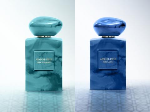 ARMANI/PRIVÉ 高級訂製香水Privé Bleu Turquoise及Privé Bleu Lazuli ,兩款香水主調交織著印度線香及香料市場的芳香,帶有粉紅胡椒、佛手柑和地中海海鹽暗香。各HK$2,400/100ml (將於3月中推出)