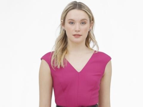粉紅色V領連身裙 HK$2,490
