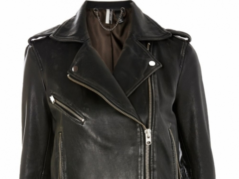Black Leather Biker Jacket HK$1,869 (TOPSHOP)