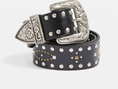 Leather Mix Stud Western Belt HK$421 (TOPSHOP)