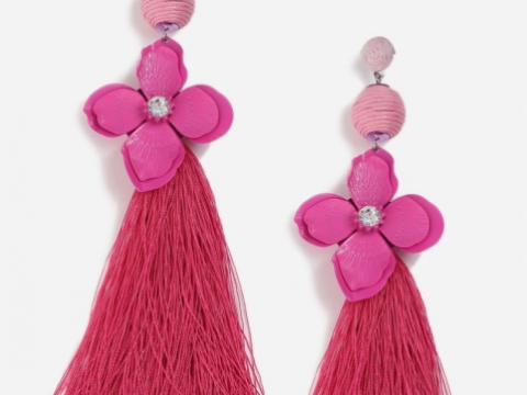 Rhinestone Flower and Tassel Earrings HK$162 (TOPSHOP)