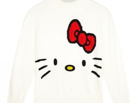 白色Hello Kitty樣樽領冷衫 HK$549