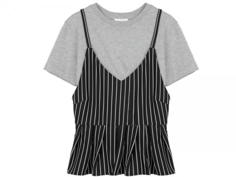 b+ab黑白吊帶條子上衣配灰色短袖tee $459