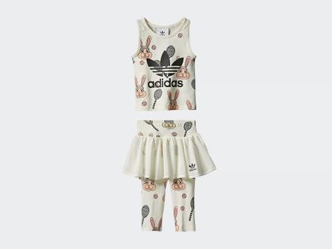 adidas Originals x Mini Rodini黑白兔子背心迷你短裙套裝 $450