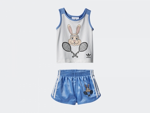 adidas Originals x Mini Rodini粉藍兔子背心短褲套裝 $350