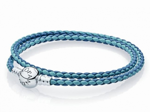 PANDORA Moments Double Woven Bracelet, Blue Mix