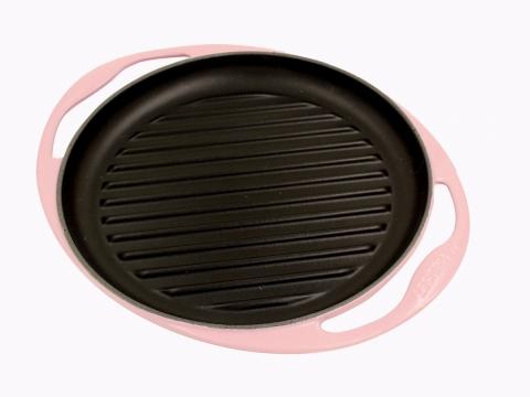 罕有色系燒烤盤!「少油煎烤牛扒之選」Chiffon Pink 26厘米圓形鑄鐵燒烤盤  優惠價$650
