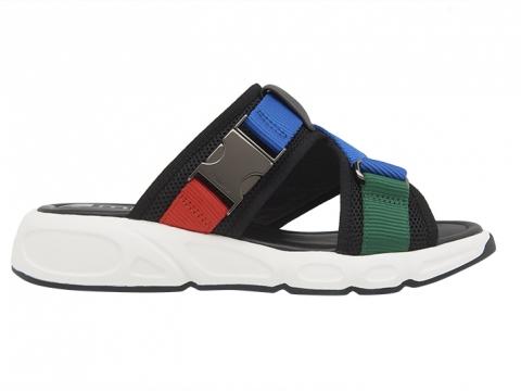 彩色金屬釦飾運動型涼鞋(黑/ 紅) $1,299