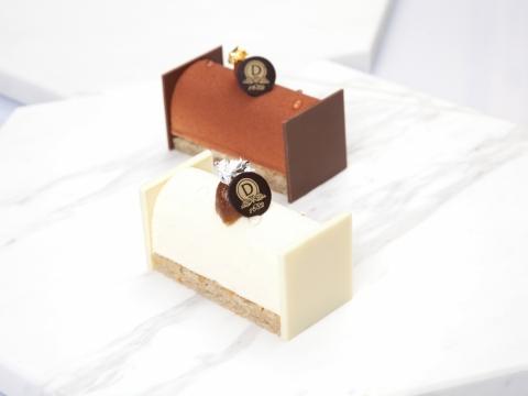 Hazelnut Log,以質感鬆軟的栗子海綿蛋糕為主體,鋪上脆脆朱古力珍珠和少許咖啡慕絲,增添滑嫩滋味。(價錢待定)