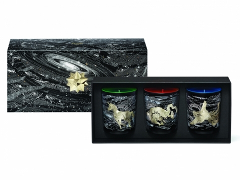 diptyque x Philippe Baudelocque限量聖誕香氛蠟燭3件套裝包括Forêt givrée、Feu d' agrumes、Larmes d' encens香氛蠟燭各190g。$1,990