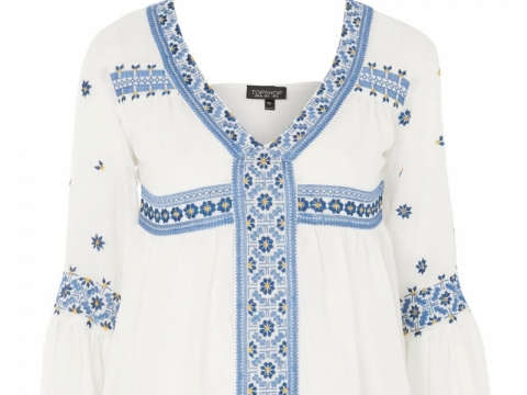 TOPSHOP embroidered flute sleeve blouse HK$559