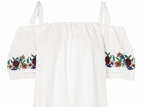 TOPSHOP embroidered poplin bardot dress HK$329