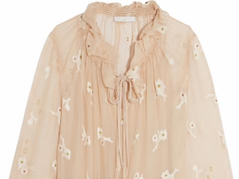 Chloé Embroidered silk-chiffon mini dress HK$ 31,929 to HK$ 7,982 (75% off)