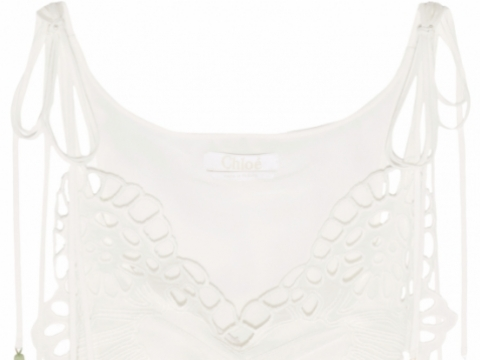 Chloé Tasseled broderie anglaise and tulle-paneled linen-blend camisole HK$ 17,660 to HK$ 4,415 (75% off)