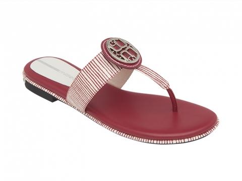 間條T-straps平底涼鞋(紅/ 黑) $1,099