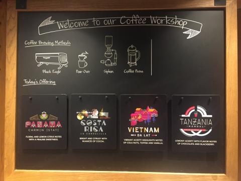 4種特選咖啡豆會定期更換。