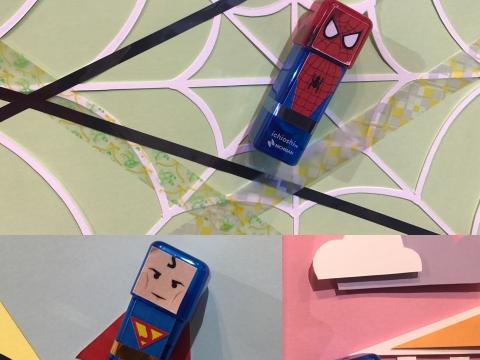 自家設計Spiderman、Superman及Superwoman印貼樂。