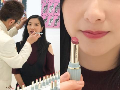 編輯Joey率先試用新唇膏 #203色調,質感柔滑,加上貓咪Pearl Lipstick營造出閃亮效果。