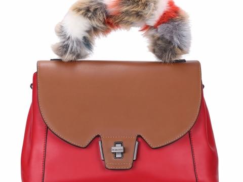 紅撞啡色毛毛手挽袋 HK$1,898