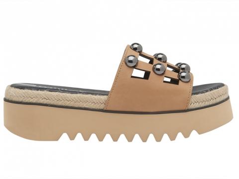 金屬圓釘厚底涼鞋(黑/ 裸色) $1,199