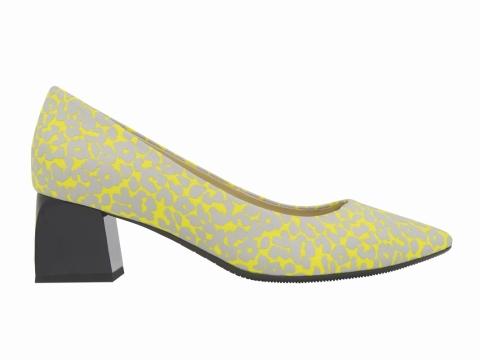 millie's 立體花紋粗跟高踭鞋 (黃) $1,099