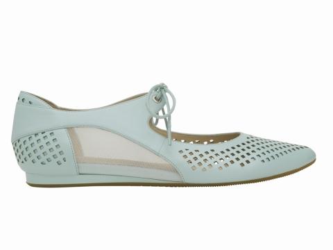 millie's laser cut 格仔平底鞋 (粉藍) $1,199