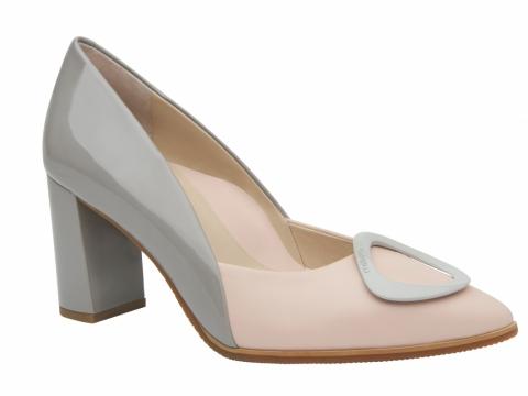 millie's 撞色飾扣高踭鞋 (灰x粉紅) $1,299