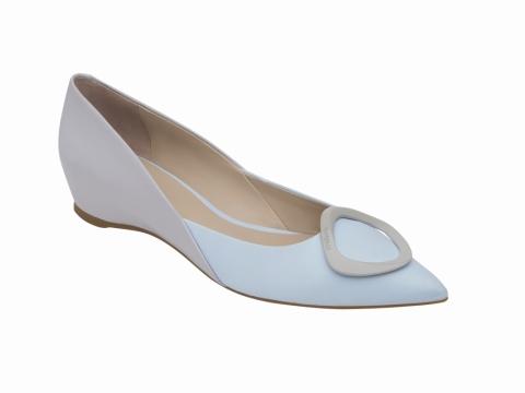 millie's 撞色飾扣平底鞋 (灰x粉藍) $1,199