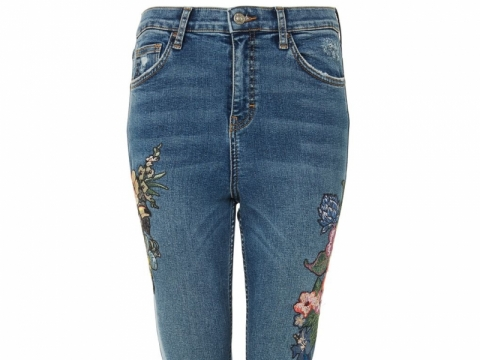 TOPSHOP Moto tropical embroidered jamie jeans HK$629