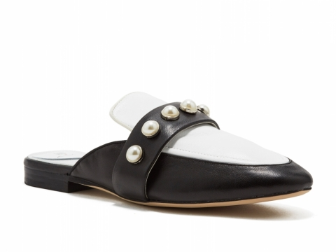 PEDDER RED X fleamadonna Black & white leather mule $1,350