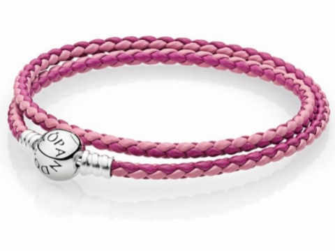 PANDORA Moments Double Woven Bracelet, Pink Mix