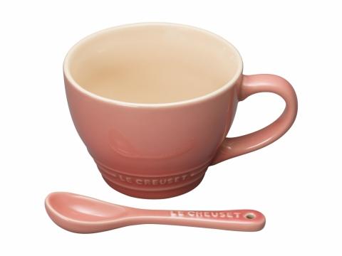 推介瓷器!Salmon Pink 湯杯連匙子  優惠價$130