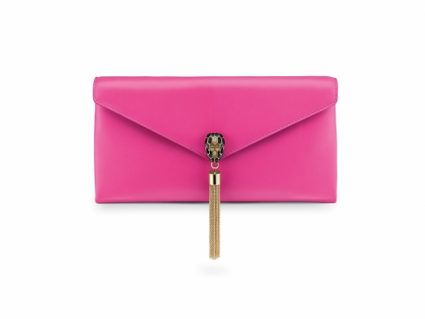 Bulgari SERPENTI POCHETTE in pink spinel smooth calf leather $11,900