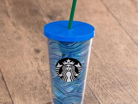 Starbucks藍色水波紋膠凍飲杯